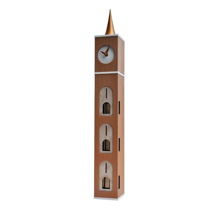 Orologio con 3 campanelle intonate Beels 3 in legno 10x11xh76 cm Betulla e MDF placcato faggio | Pirondini | Stilcasa.Net: orologi da tavolo