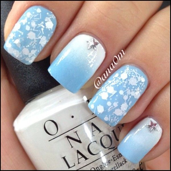 First paint the nail with a base color (usually white) then use an old lace pattern and paint over it with another color. So cute.