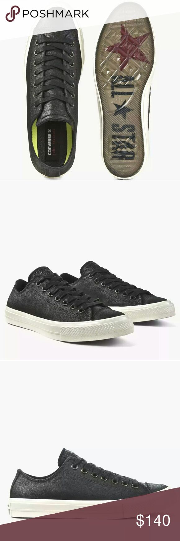 NWT Converse John Varvatos Coated Leather Black NWT! Rare! Sold in stores!  - Converse Chuck Taylor John Varvatos Coated Leather Low Top w/ Lunarlon - Converse Chuck Taylor All Star, Chuck II, Chuck 2 Converse Shoes Sneakers