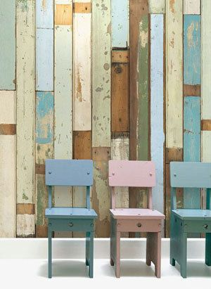 Wall paper made from old weatherboards - love...