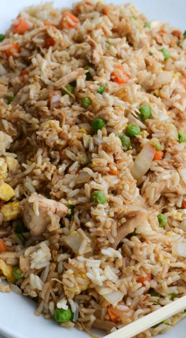 chicken fried rice - followed recipe but added a splash more soy sauce and…
