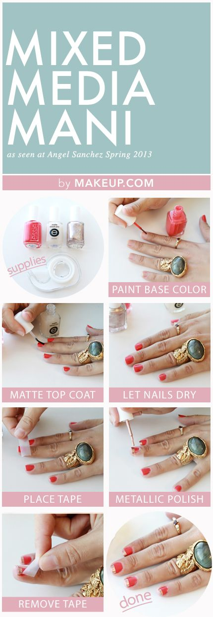 Polished: Mixed Media Manicure. Nail art design. Cute simple easy