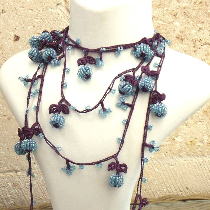 Turkish OYA Lace - Lariat necklace - Berry - Purple & Blue by DaisyCappadocia on Etsy