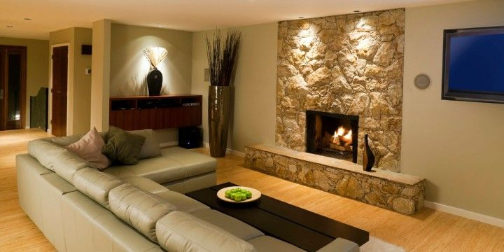 Stunning Family Room With Tv Designs With Modern Family Room Decorating Ideas With TV And Natural Stone Fireplace