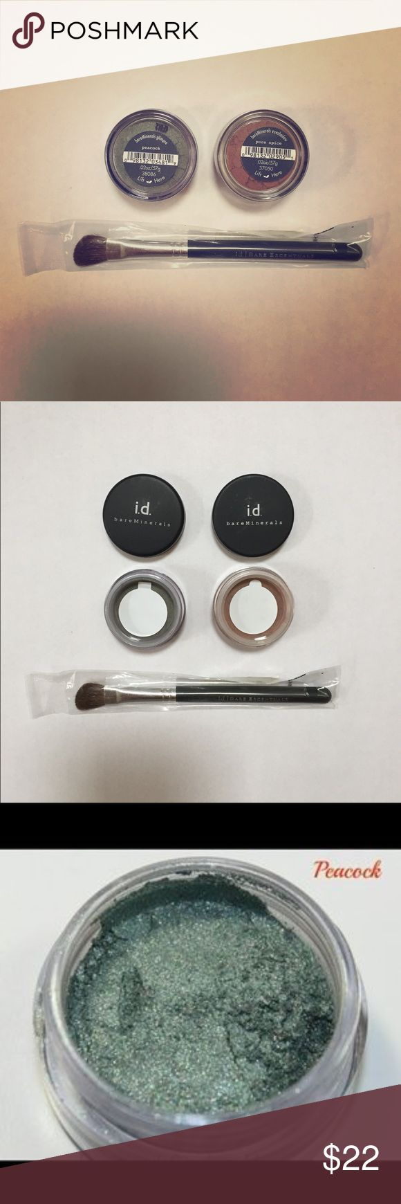 bareMinerals Eyeshadows and Brush bareMinerals eyeshadows in peacock (sparkly deep green) and pure spice (cocoa color). Also included is the eye defining brush to help provide smooth application and build color intensity. Brush alone is worth $18. All items are sealed and unopened (extra pictures provided to show color). Price is for the set. bareMinerals Makeup Eyeshadow