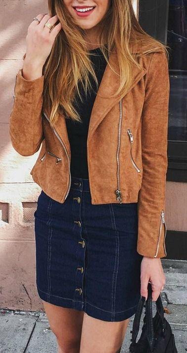 Tan suede moto jacket love the skirt too