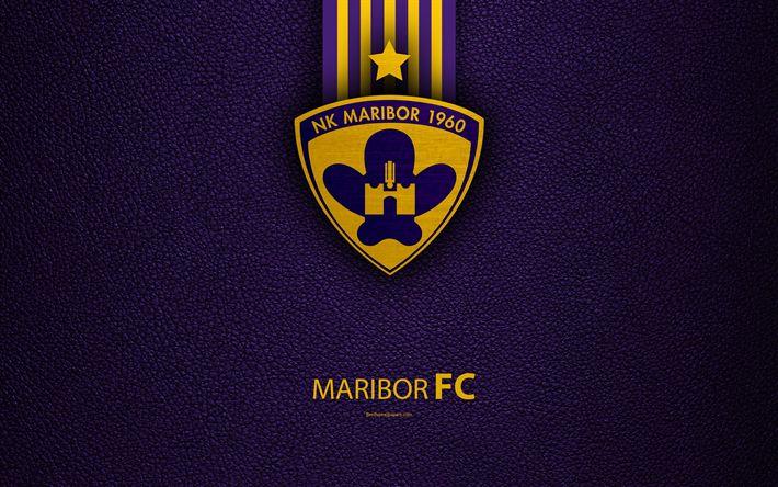 Download wallpapers NK Maribor, 4k, Slovenian football club, Maribor FC emblem, leather texture, PrvaLiga, Maribor, Slovenia, Slovenian First Football League, football