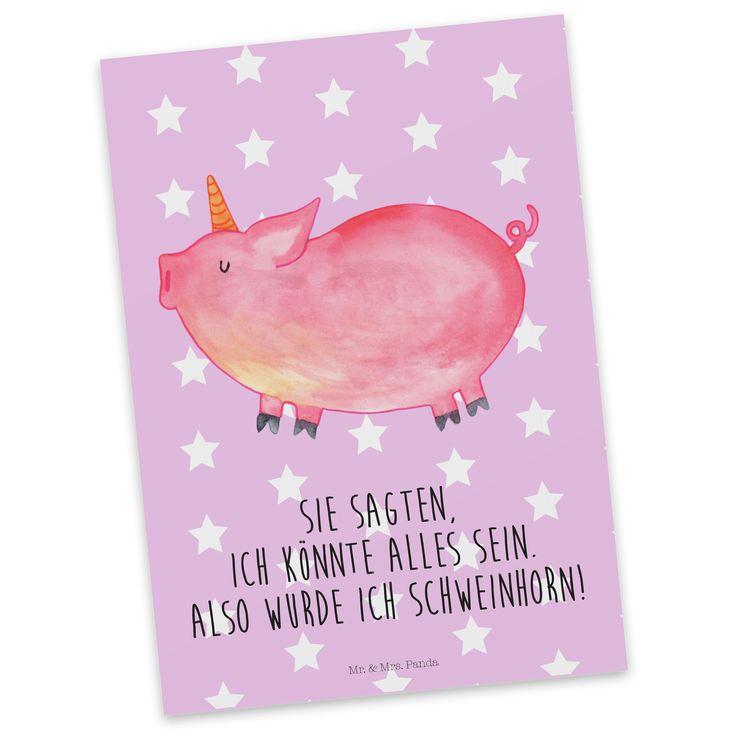 """Postkarte Einhorn Schweinhorn aus Karton 300 Gramm  weiß - Das Original von Mr. & Mrs. Panda.  Diese wunderschöne Postkarte aus edlem und hochwertigem 300 Gramm Papier wurde matt glänzend bedruckt und wirkt dadurch sehr edel. Natürlich ist sie auch als Geschenkkarte oder Einladungskarte problemlos zu verwenden. Jede unserer Postkarten wird von uns per hand entworfen, gefertigt, verpackt und verschickt.    Über unser Motiv Einhorn Schweinhorn  """"Du kannst alles werden, was du willst!"""" Diesen…"""