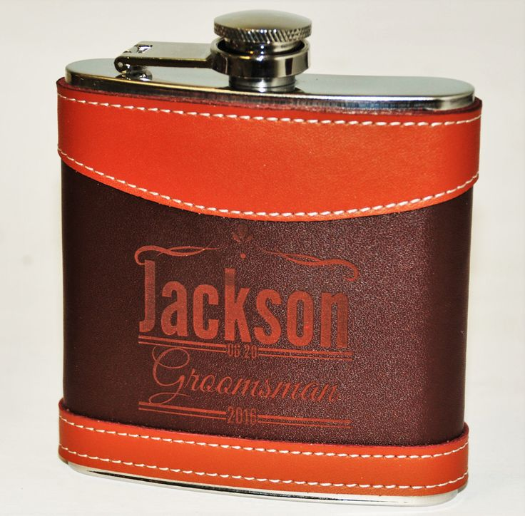 Set of Eight- Two Tone Leather Flasks Wedding party favors Groomsmen flask Best man flask, engraved, Custom 6oz flask., flask, personalized by MemoriesMadeCustom on Etsy