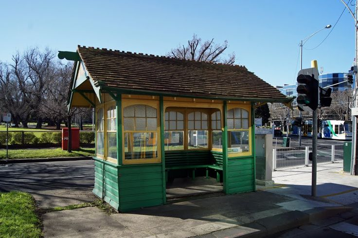 Tram Shelter, St Kilda Road. One of five remaining from a distinct group of timber shelters built between 1912 and 1927 in a style based on Edwardian domestic fashion