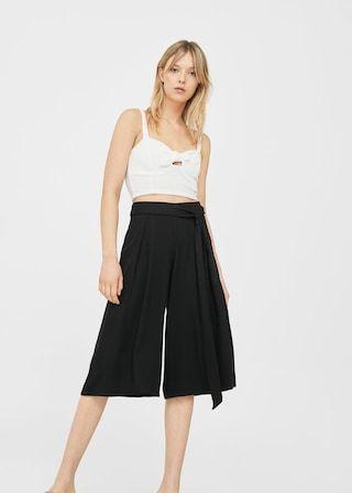 Spodnie culotte wiązane w pasie - Spodnie dla Kobieta | MANGO Polska
