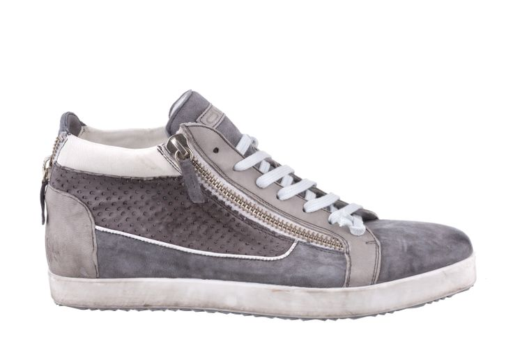HI-TOP SNEAKER IN FULL GREY/IRON LEATHER WITH ZIP #Corvari #shoesofthemonth #ss2014