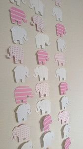 1 Paper Garland Elephant Theme Pink and White, Two Sided Streamer, Baby Shower, Birthday Party, Baby Nursery