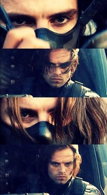 (The Winter Soldier (Bucky) — Sebastian Stan has really alluring eyes. That gets accentuated when the rest of his face is covered, too. Be still, my heart.) - visit to grab an unforgettable cool 3D Super Hero T-Shirt!