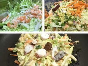 Okonomiyaki nach Kansai-Art  Zutaten      200 g Mehl     200 ml Wasser     2 Stk Eier     1/2 Stk Karotte     100-150 g Garnelen     2 Stk Frühlingszwiebeln     1-2 TL Dashipulver (Dashi-Brühe selbst gemacht)  Topping      Mayonnaise (Kewpie)     Katsuobushi (Bonitoflocken)     Okonomiyaki-Sauce (Worcestersauce)     Aonori (kleingemahlene Nori-Algen)     grüne Frühlingszwiebel (nach Belieben)     weiterer Belag nach Wahl z.B. Speck & Spiegelei, Ruccola …