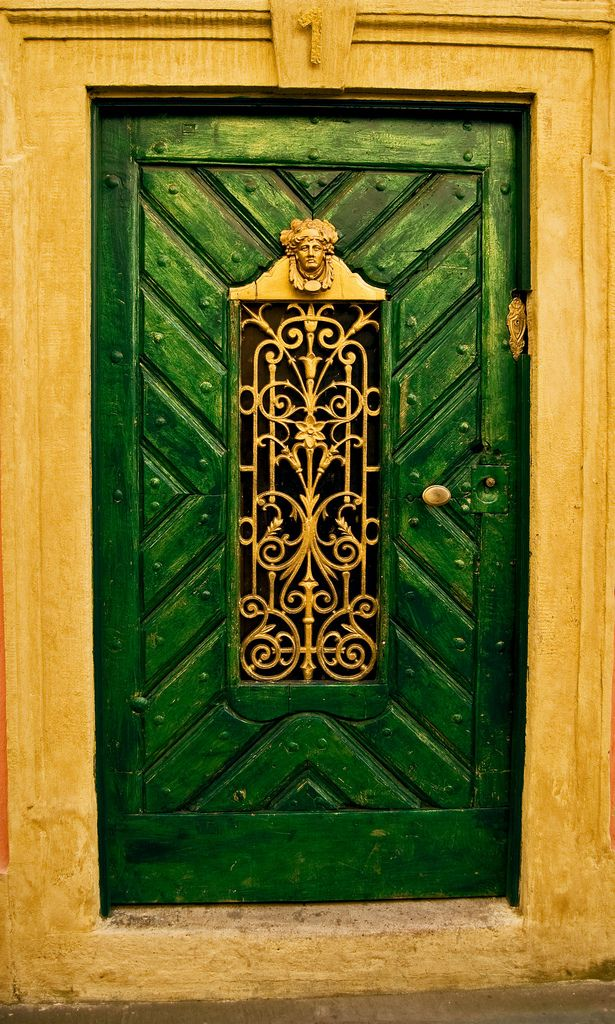 #Doors from around the world, creative ideas for your #renovation project. Green door with intricate gold details.... http://www.myrenovationstore.com  »✿❤Love Doors❤✿
