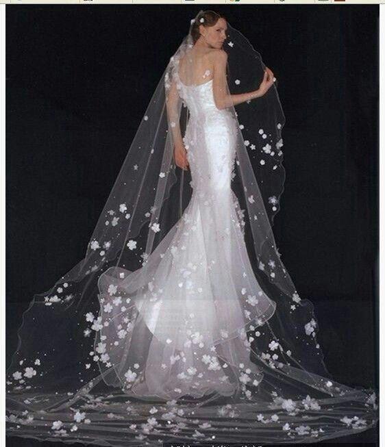"Cathedral Length Bridal Veil With 3D Appliquéd ""Flowers"