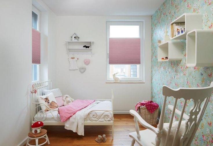 Roze gordijnen voor de kinderkamer Duette®Shades #Toppoint #duetteshades