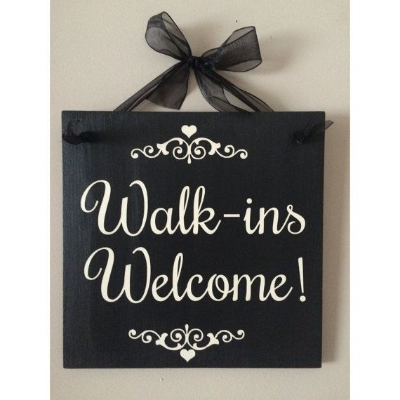 Walk-Ins Welcome Sign Salon Sign Hair Salon by singingheartdesigns