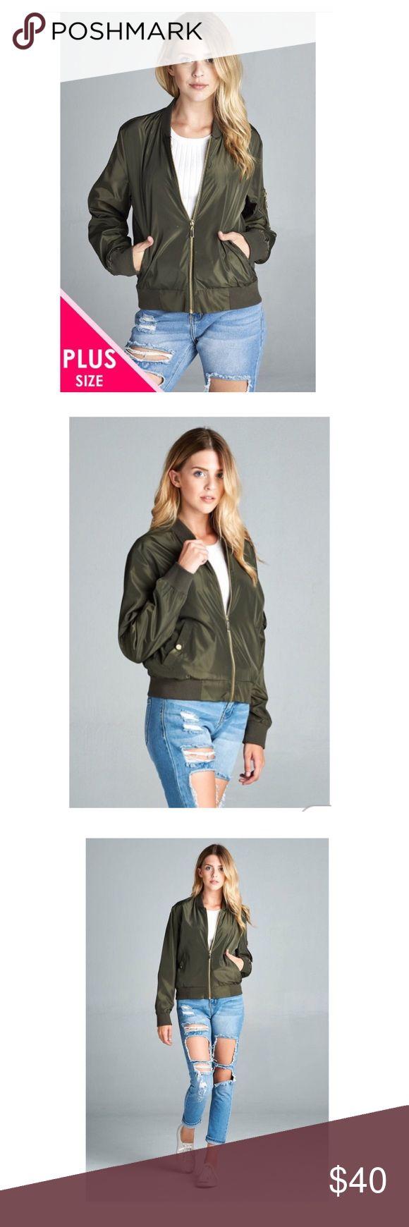 🎉New🎉plus Size bomber jacket Ladies fashion plus size light weight bomber jacket 100% Polyester  Dark Olive Jackets & Coats Blazers