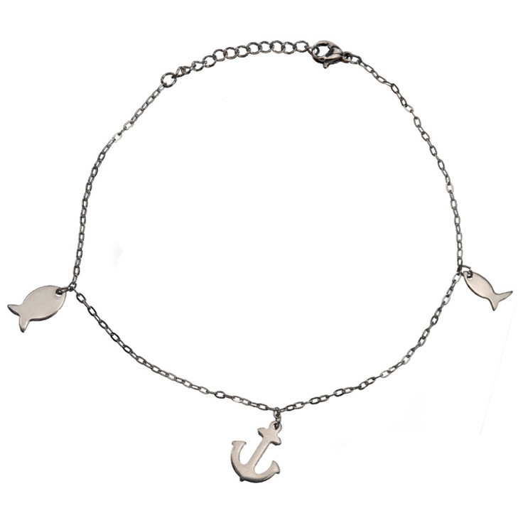 Women's Stainless Steel Anklets with Dangling Two Fish and an Anchor #anklets #jewelry #summer #stainlesssteel