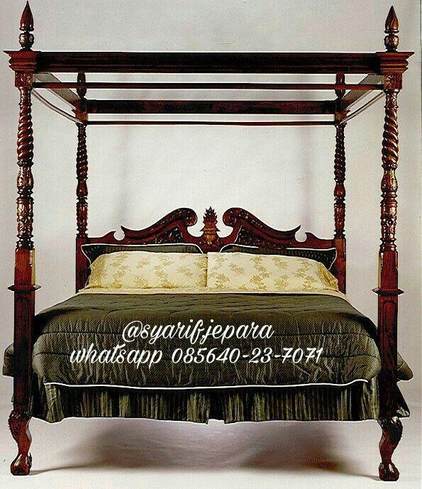 Product : Kanopi Bedroom Material :  Kayu Jati Finishing : Deep Brown Semi Price : Contact Us Whatsapp 085640237071 Call 082331583274