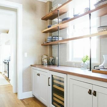 Butler Pantry With Wood And Pipe Shelves In Front Of Window Kitchen 2018 Pinterest