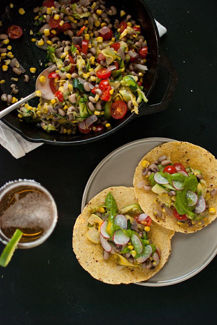 summer squash tacos with avocado chimichurri sauce