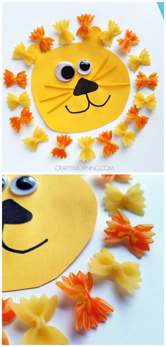 Make a cute pasta noodle lion craft with your kids! Perfect for zoo themes: