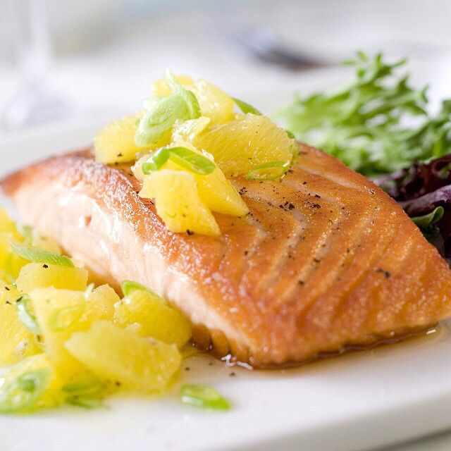 - TAG a Salmon Lover!  Glazed Salmon with Pineapple Salsa  Ingredients For the Salmon •	1 teaspoon paprika •	1 teaspoon ancho chili powder •	1/4 teaspoon ground cumin •	1/4 teaspoon sugar •	1 teaspoon kosher salt •	4 (6 ounce) salmon fillets •	2 tablespoons maple syrup  For the Pineapple Salsa •	2 cups diced fresh pineapple •	2 tablespoons chopped fresh cilantro •	2 tablespoons fresh lime juice, from one lime •	1 tablespoon maple syrup  Instructions 1.	Set an oven rack about 6 inches from…