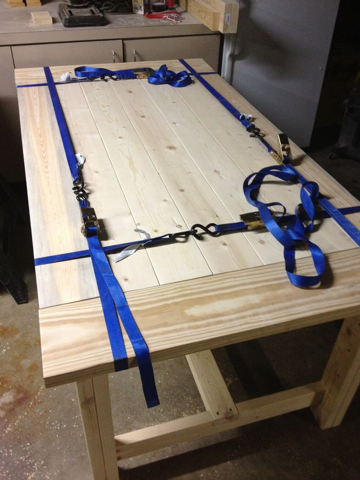 farm table plans free | didn't have clamps big enough to secure the tabletop after putting ...