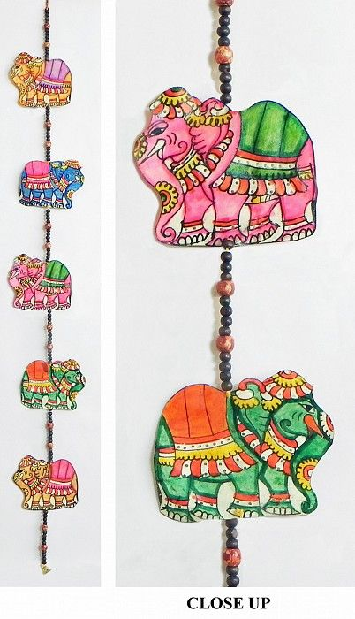 Hand Painted Hanging Elephants with Beads - Perforated Leather Crafts from Andhra Pradesh - Leather Craft from Andhra Pradesh (Leather)