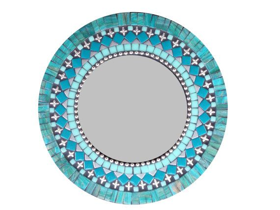 Silver Teal Black Mosaic Mirror Round Mixed By GreenStreetMosaics