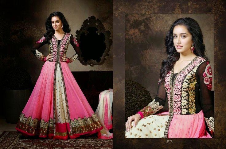 Shraddha Kapoor Pink & Black Embroidery Work-Clothing-Khantil India