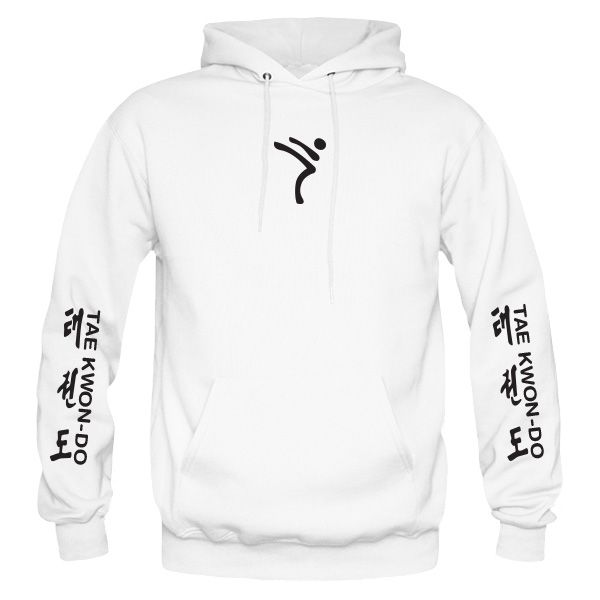 ITF Taekwondo White Hoodie, custom printed with flock vinyl. Taekwondo wording and symbols on sleeves, ITF Tree on the back, Kicking Man logo on the front.