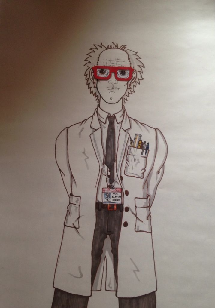 PIN THE GLASSES ON THE PROFESSOR My cartoon for the game, complete with the spectacles made for pinning