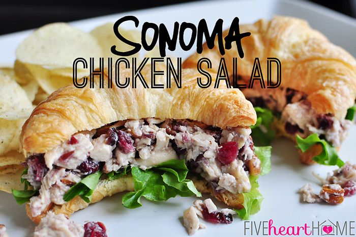 Sonoma Chicken Salad ~ juicy chicken, toasted pecans, and dried cranberries coated in a honey-kissed dressing (similar to Costco chicken salad) | FiveHeartHome.com
