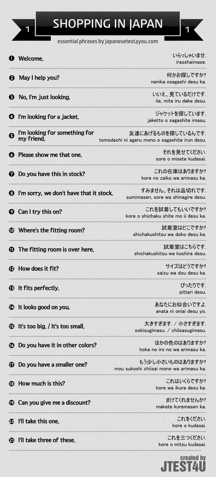 Essential Japanese phrases for shopping part 1. http://japanesetest4you.com/infographic-essential-japanese-phrases-for-shopping-part-1/