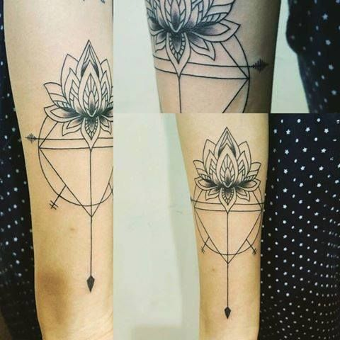 Geometric lotus tattoo. Artist Victor at https://www.facebook.com/Exotic-Tattoos-and-Piercings-418666600080/timeline/?ref=hl http://www.exotictattoopiercing.com/ For further inquires contact Victor at exotic@exotictattoopiercing.com