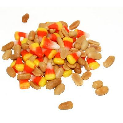 Yummy and easy snack: candy corn & peanuts. I think you can get the indian corn candy corn and it has brown on it. Would be a good favor in a cute container.  Or pretty in those glass vases