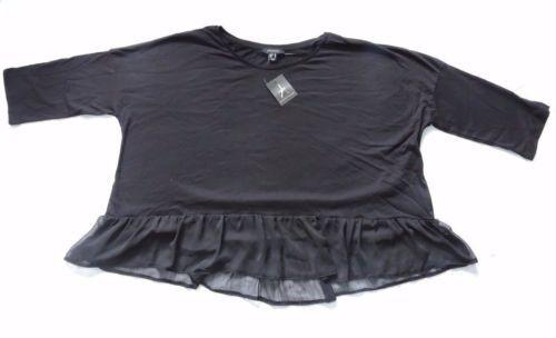 Primark-Women-3-4-Sleeves-Jersey-Plisse-Hybrid-Top-Oversize-TShirt-Black-Size-20