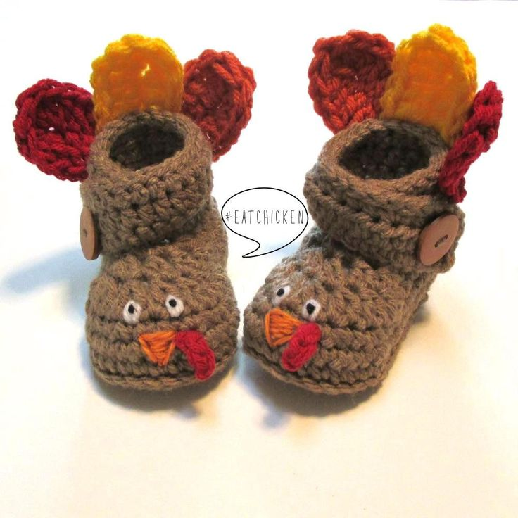 Crochet baby turkey booties.  Fall baby booties for Thanksgiving.  Made to order. by ThoughtfulStitches on Etsy