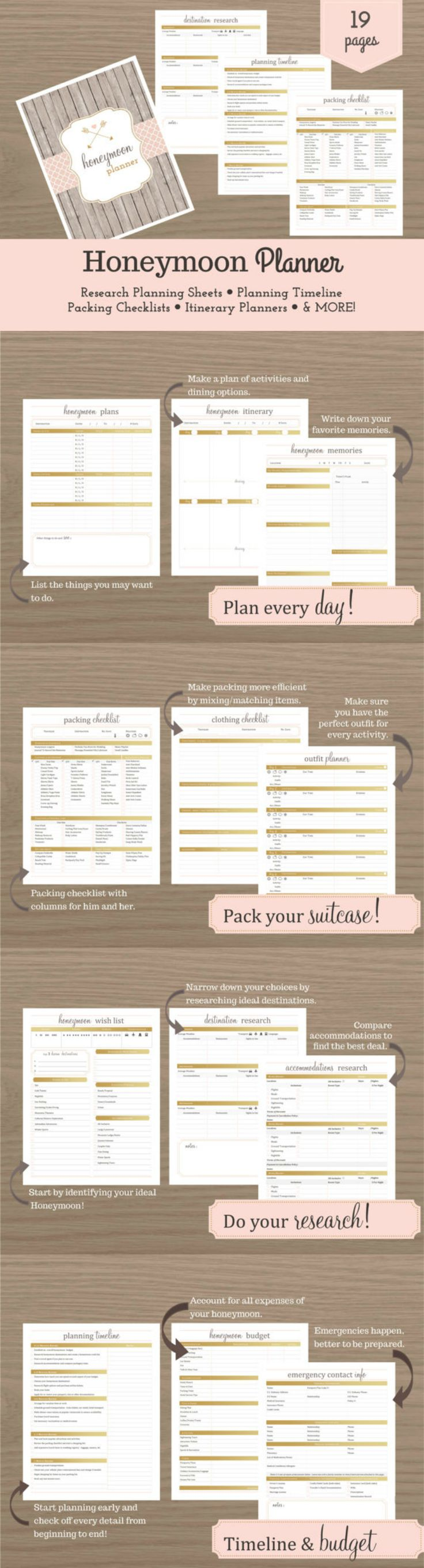 Congratulations on your engagement! Now it's time to start dreaming of your ideal honeymoon. Just like planning your wedding, planning a successful honeymoon requires preparation and organization. The Honeymoon Planner is the perfect tool to help you achieve a honeymoon that is as romantic and perfect as you imagine it! So after the big day has come and gone, you'll be on your way to honeymoon bliss! #honeymoon #travel #wedding #planner #printable #ad
