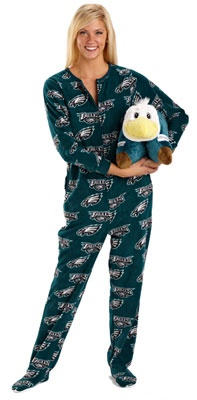 "With the feet. Of course. ""Philadelphia Eagles Women's Green Scoreboard Fleece Union Suit"""