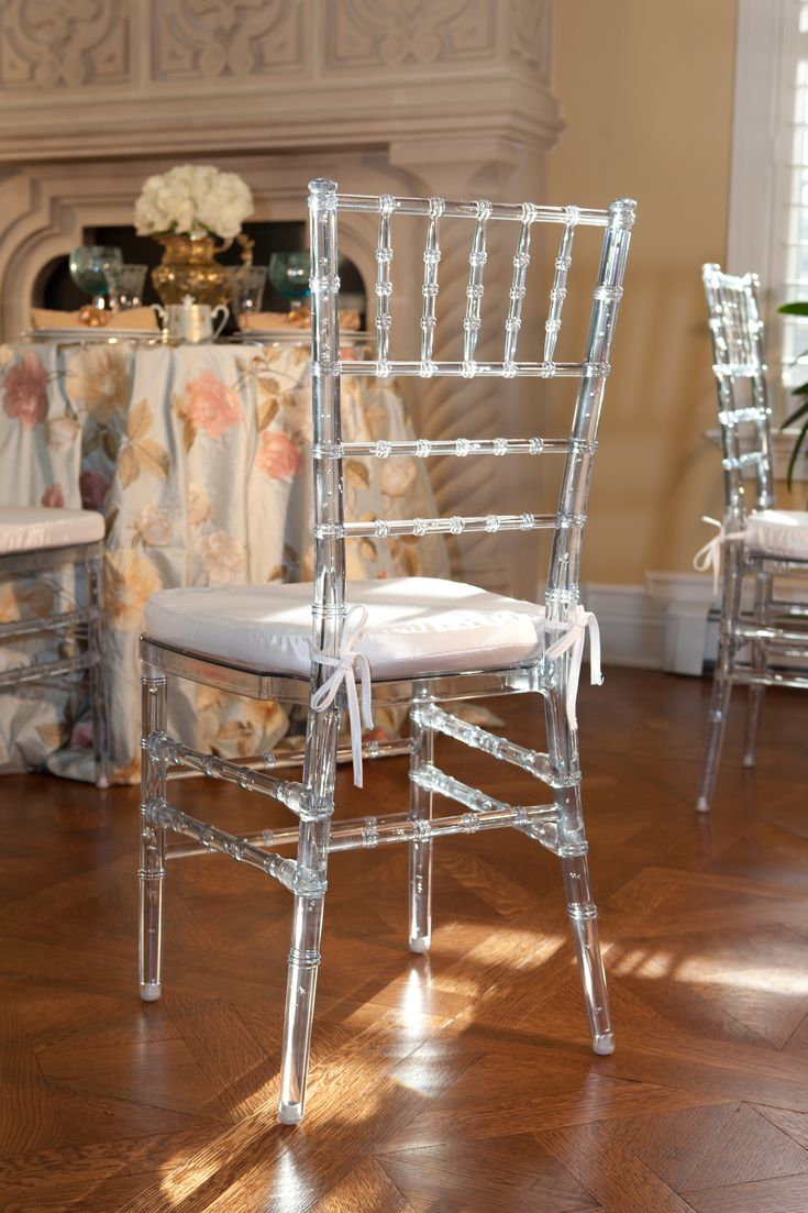 """Vision Furniture's Clear Chiavari March 7, 2012. 294  """"The virgin resin used in our Clear Chiavari Chair is perfectly clear without any off-color imperfections such as tinges of blue or green. Also, our chair has been product tested to be more durable and more reliable than our competitor's chairs in chair back durability tests. This test measures how many times someone can lean back in the chair before the joints or the chair back is compromised."""""""
