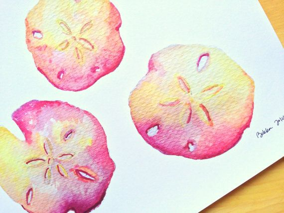 Beachcomber Treasures 8x10 Watercolor Sand Dollar Print the colors are amazing