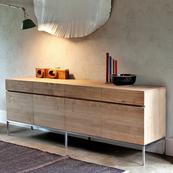 le bahut ikea en chene clair pour le salon moderne
