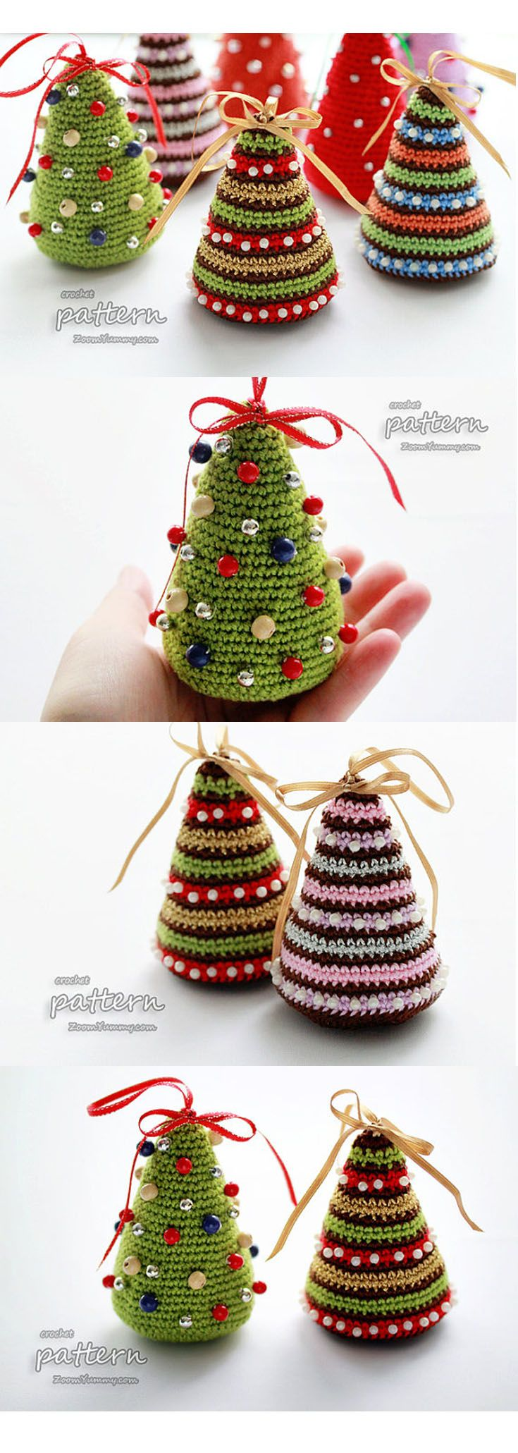 These happy little crochet Christmas trees are adorable! With a few bits  and bobs from