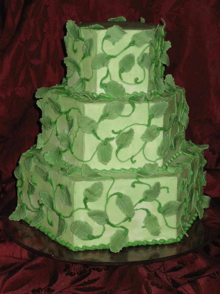 Hexagon Wedding Cake with Green Vines & Leaves - toptierweddngcakes.dotphoto.com