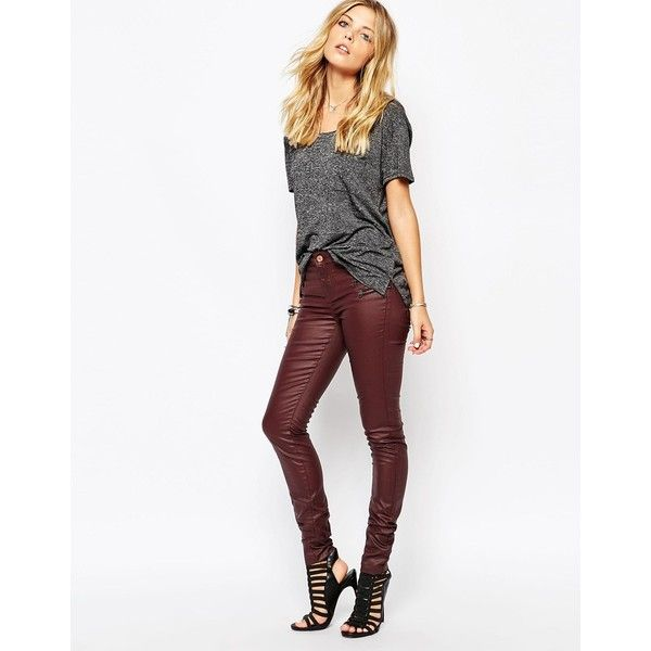 Noisy May Fame Coated Skinny Jeans With Zip Pockets ($41) ❤ liked on Polyvore featuring jeans, wine, white high waisted jeans, white super skinny jeans, white jeans, super high waisted skinny jeans and high-waisted jeans